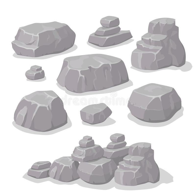 Set of stones, rock elements different shapes cartoon style set, flat design, isometric stones vector stock illustration