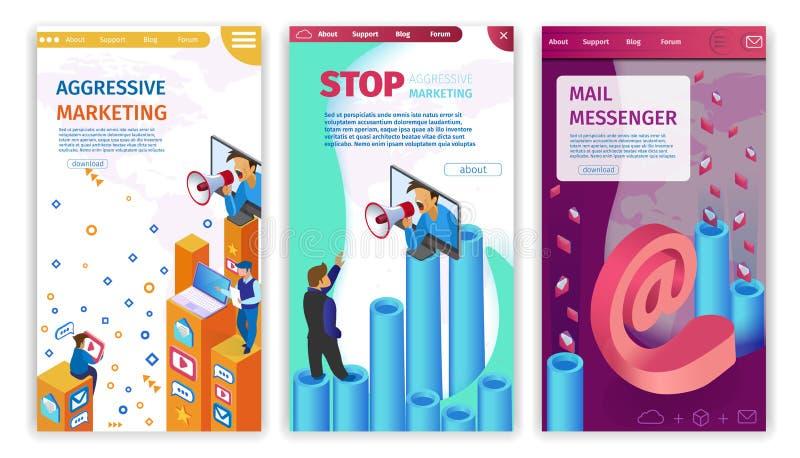 Set Stop Aggressive Marketing, Mail Messenger. royalty free illustration