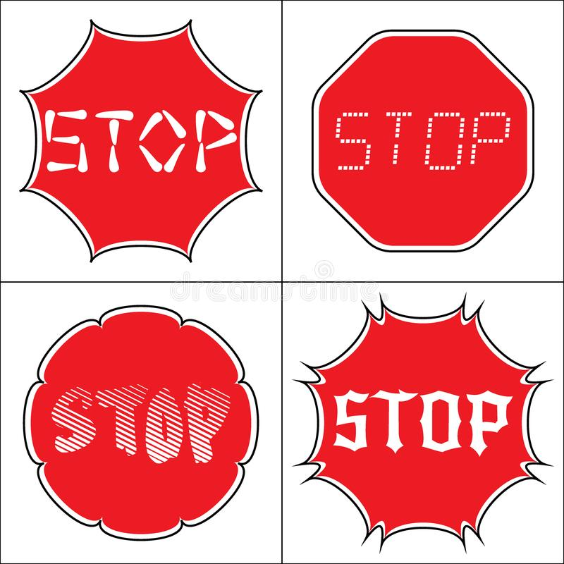Set a stop sign. STOP. Traffic stop sign on pure white. Set of red octagonal stop signs for prohibited activities. Set a stop sign in the octagon of different royalty free illustration