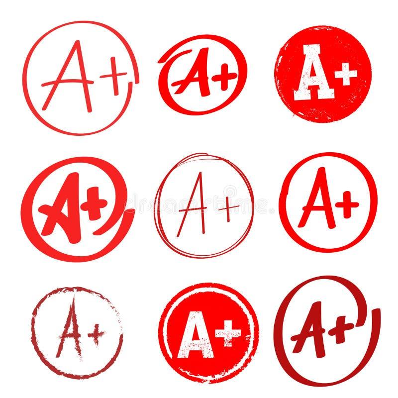 Set stopnia rezultat A+ Ręka rysujący stopień z plus w okręgu rysunkowej elementów wolnej ręki naturalny stylizowany również zwró ilustracja wektor