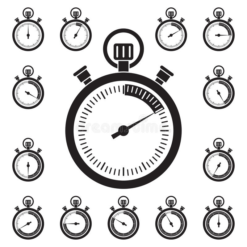 Set of stopwatch icons. Set of black stopwatch icons, showing different time intervals . Vector illustration royalty free illustration