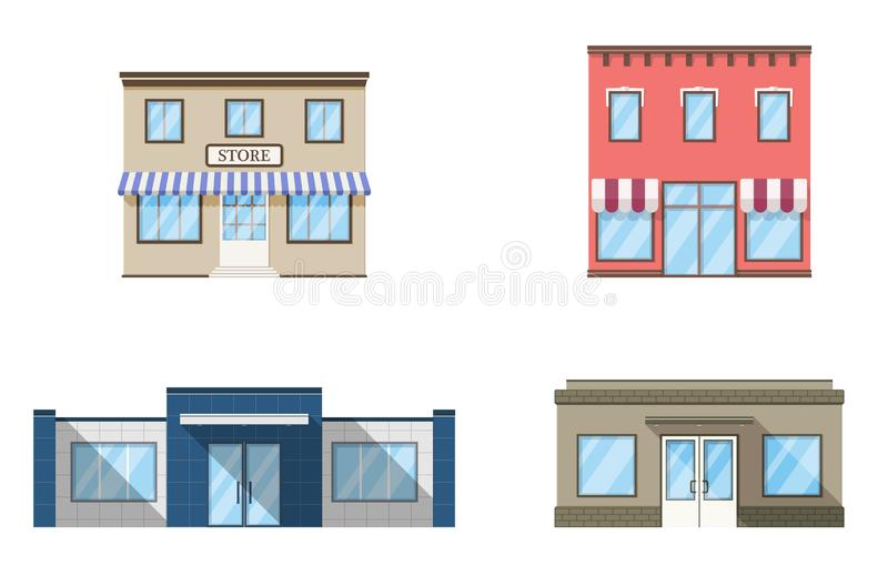 Set of store, shop, mini mall. Store fronts, flat style. Urban retail business buildings. Vector illustration royalty free illustration