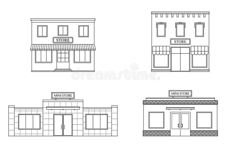 Set of store, shop, mini mall. Store fronts, flat style. Urban retail business buildings. Vector illustration stock illustration
