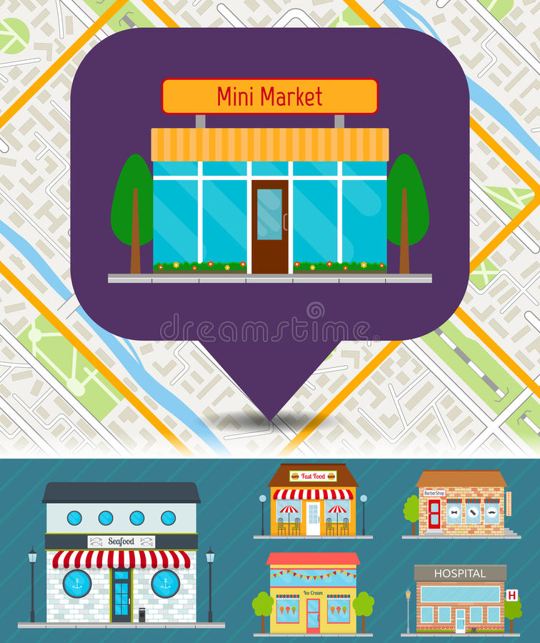 Set of stores and shops on city map. royalty free illustration