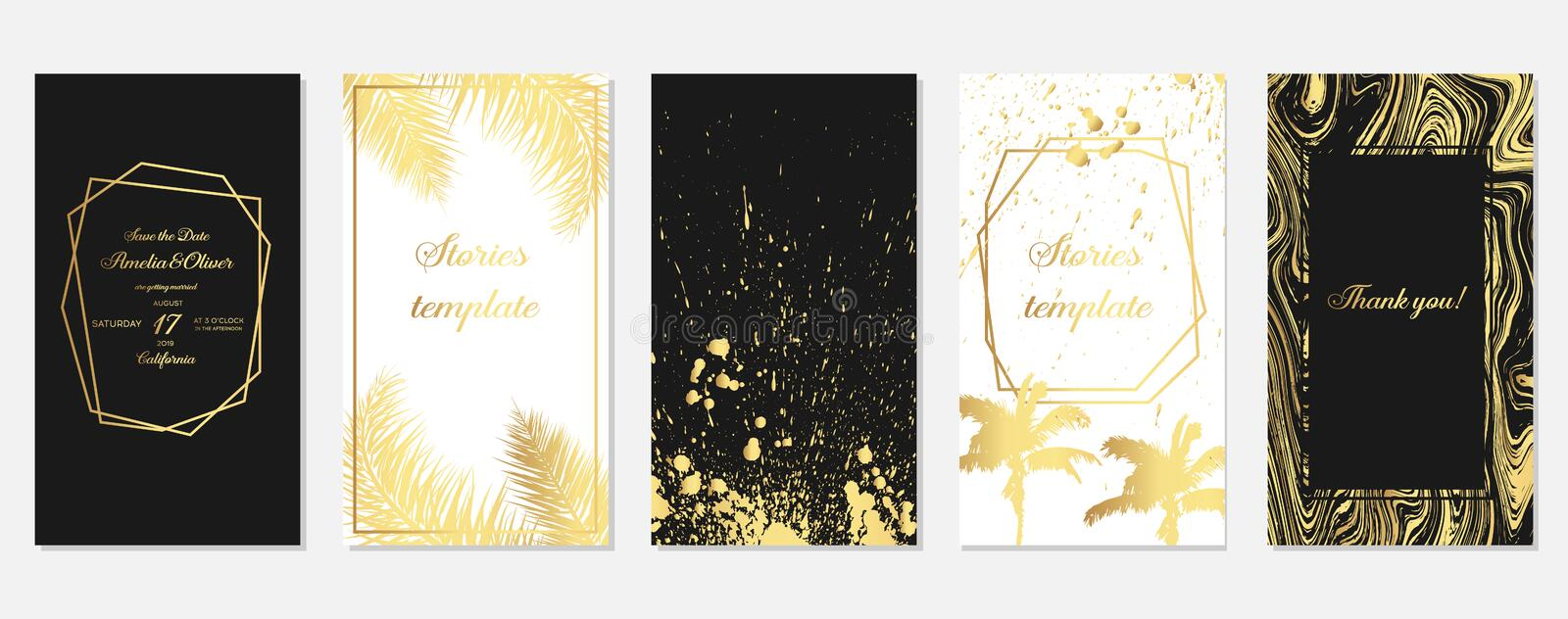 Set of stories frame templates with  gold palm tree leaves. Set of tropical  Templates. Stories template. Design backgrounds for stock illustration