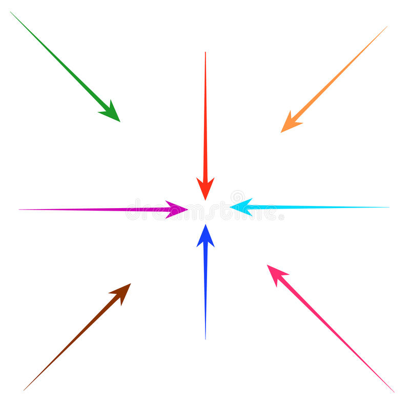 Set of straight colorful arrows. For design royalty free illustration