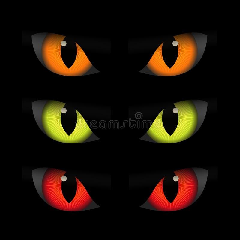 Set straszni zwierzęcy oczy, Halloween elementy royalty ilustracja