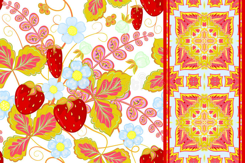 Set of strawberries seamless hand drawn vector pattern and seamless border or ribbon, band, tape royalty free illustration