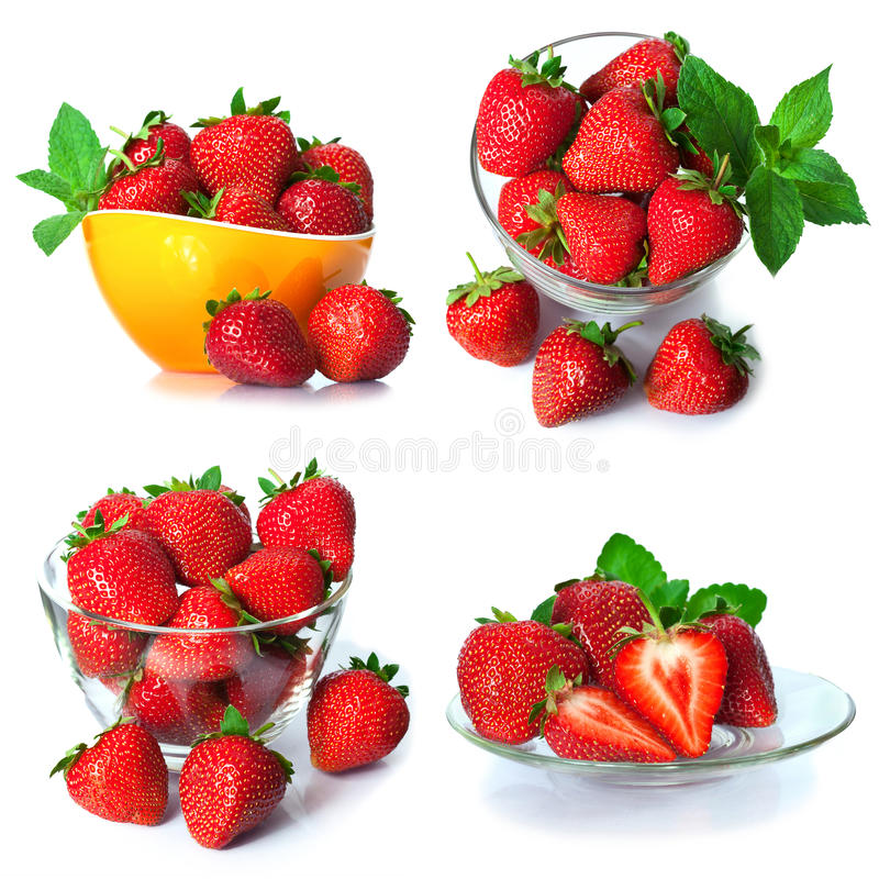 Set from strawberry berries. isolated on white royalty free stock photo