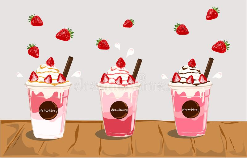 Set of Strawberry desserts and drinks. vector illustration