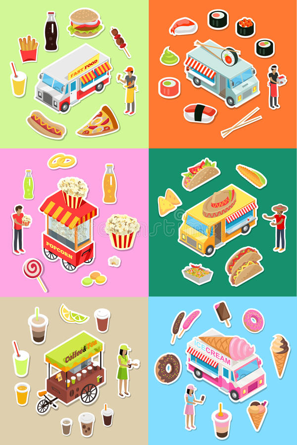 Set of Street Fast Food Eatery on Wheels Vectors royalty free illustration