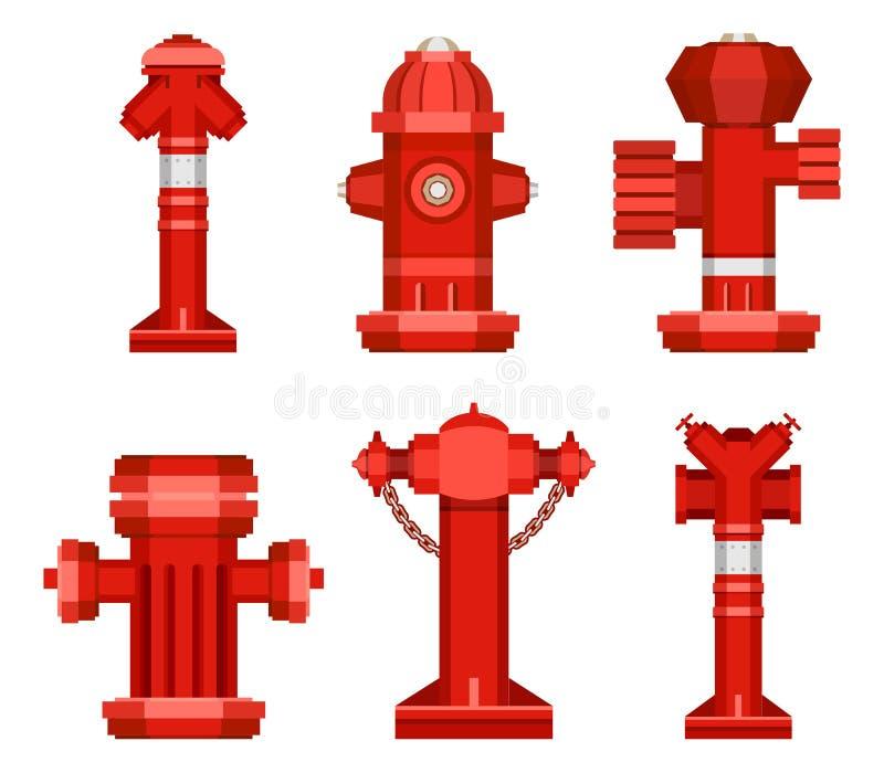 Set of street hydrants royalty free illustration