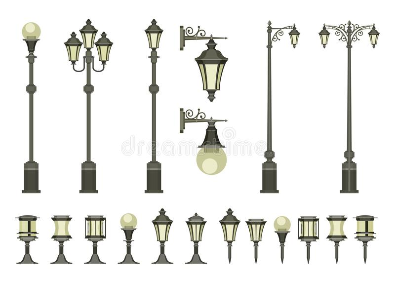 Set of street lamps. Vector set of street lamps and small garden lamps on a white background royalty free illustration
