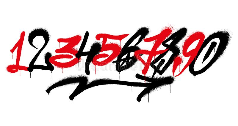 Graffiti numbers. Set street type calligraphy design numbers graffiti style tag letters write marker brush ink or aerosol paint spray. Free wildstyle for wall vector illustration