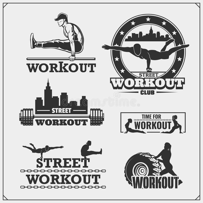 Set of Street Workout and fitness emblems and labels. Athletes illustrations and silhouettes. Vector set of Street Workout and fitness emblems and labels stock illustration