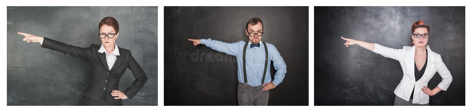 Set of Strict teacher people in eyeglasses pointing out on blackboard royalty free stock photography