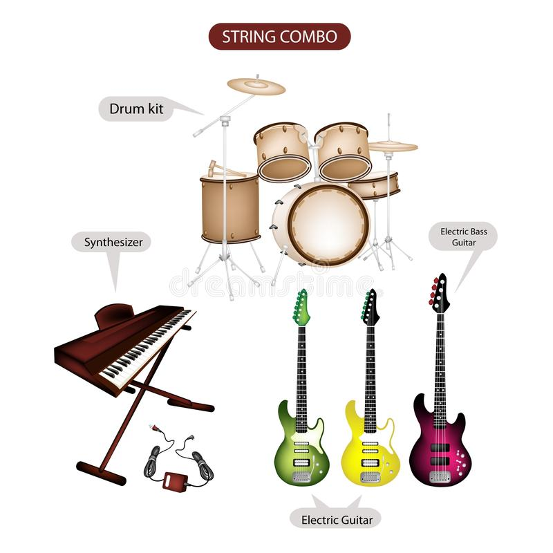 A Set of String Combo Music Equipment. Illustration Brown Color Collection of Musical Instruments String Combo, Electric Guitar, Electric Bass Guitar stock illustration