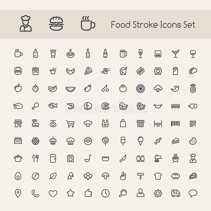 Set of Stroke Food Icons vector illustration