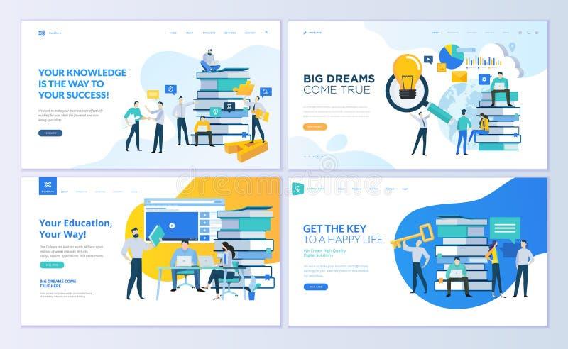 Set strona internetowa projekta szablony dla edukaci, zna jak, uniwersytet, biznesowi rozwiązania ilustracji