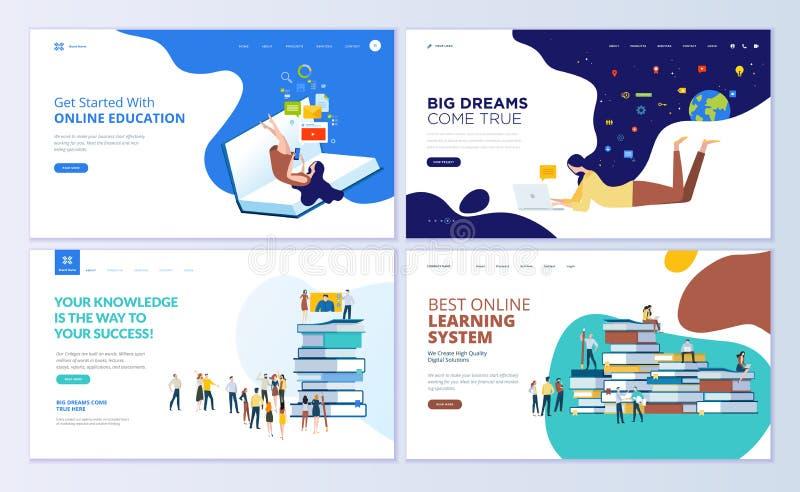 Set strona internetowa projekta szablony dla online edukaci, szkolenia i kursów, uczenie, wideo tutorials ilustracja wektor