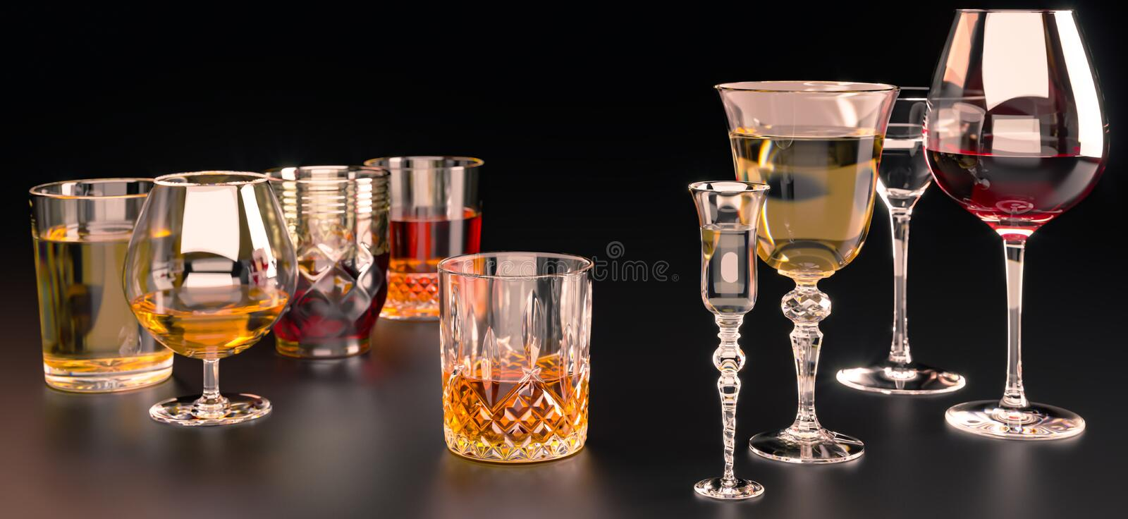 A set of strong alcoholic beverages in glasses, in the presence of whiskey, vodka, rum, brandy, tequila, on a dark background. Strong alcoholic beverages royalty free stock photo