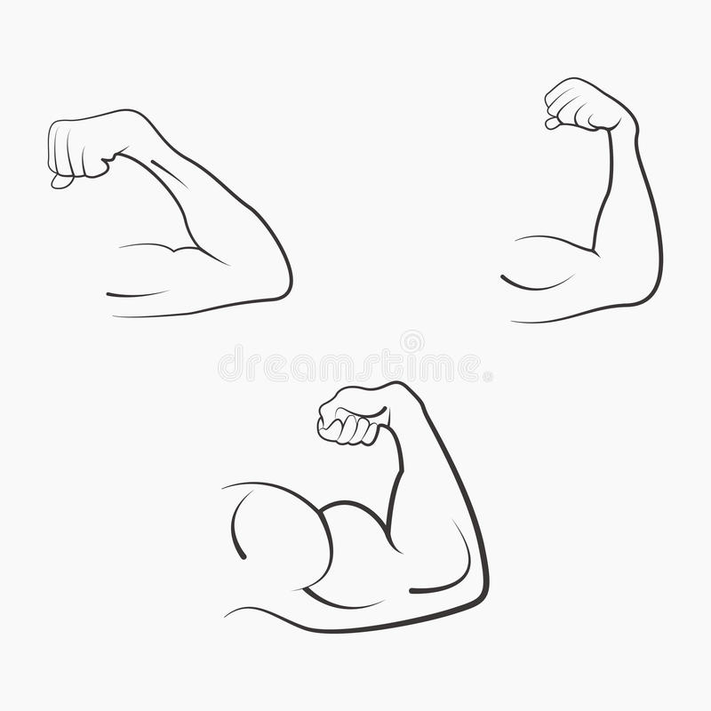 Set strong power stock vector. Illustration of hand, fist - 86710732