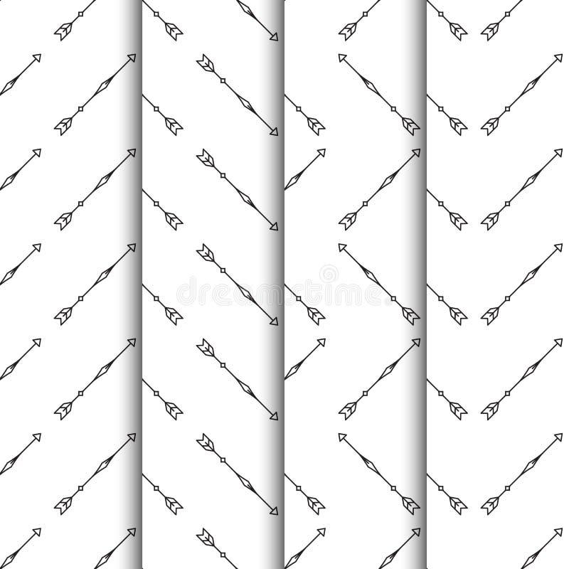 Set strzała bezszwowy wzór na białym tle ilustracja wektor