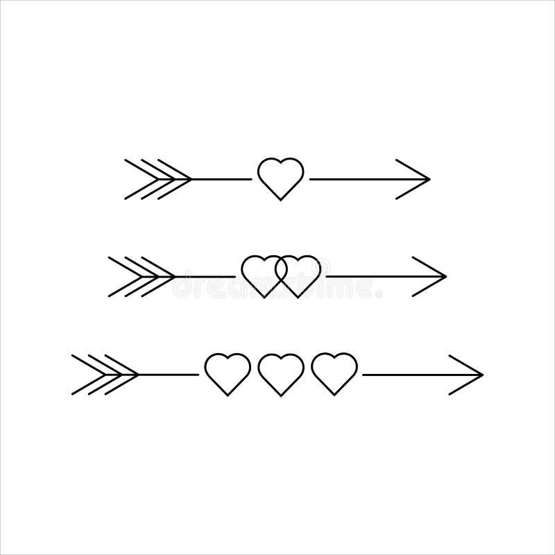Set strzały z sercami, projektów elementy dla walentynki poślubiać i dnia, wektorowa ilustracja royalty ilustracja