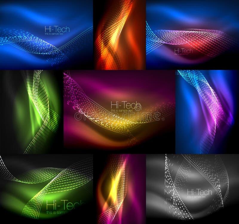 Set stubarwne neonowe dymne cząsteczki macha, wektorowi abstrakcjonistyczni tła, cyfrowy przepływ fala pojęcie z cząsteczkami wew ilustracji