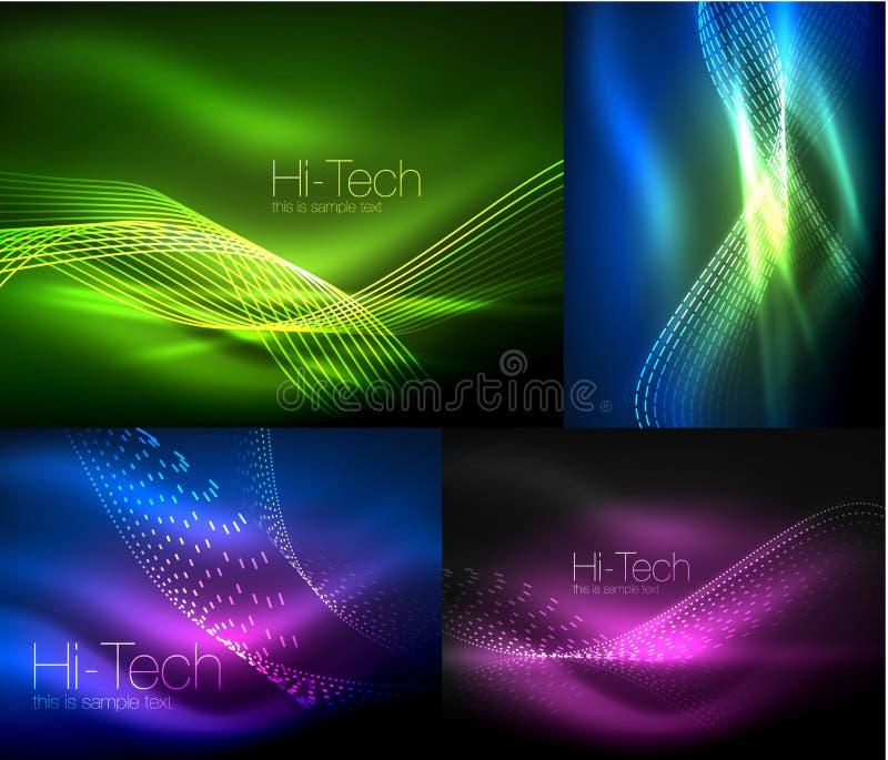 Set stubarwne neonowe dymne cząsteczki macha, wektorowi abstrakcjonistyczni tła, cyfrowy przepływ fala pojęcie z cząsteczkami wew ilustracja wektor