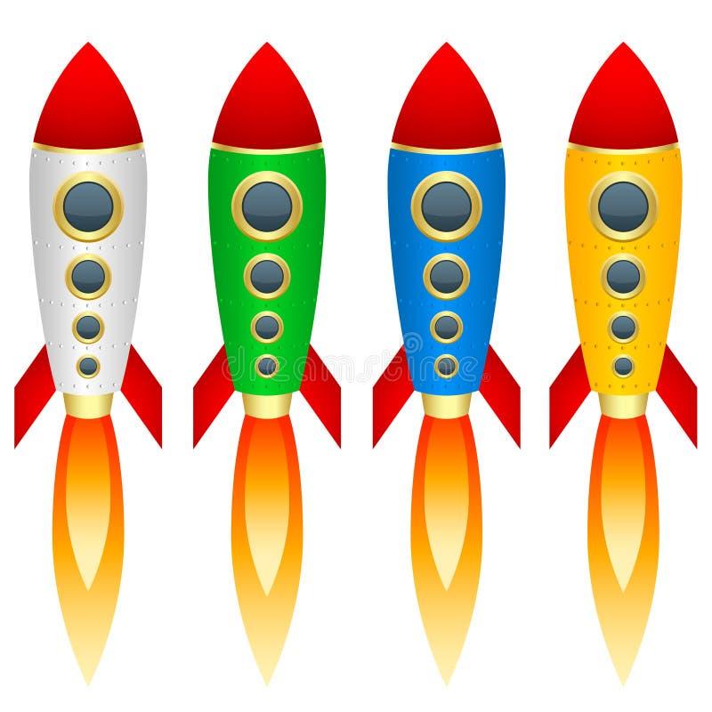 Set stubarwne rakiety Odosobneni przedmioty Biały tło wektor royalty ilustracja