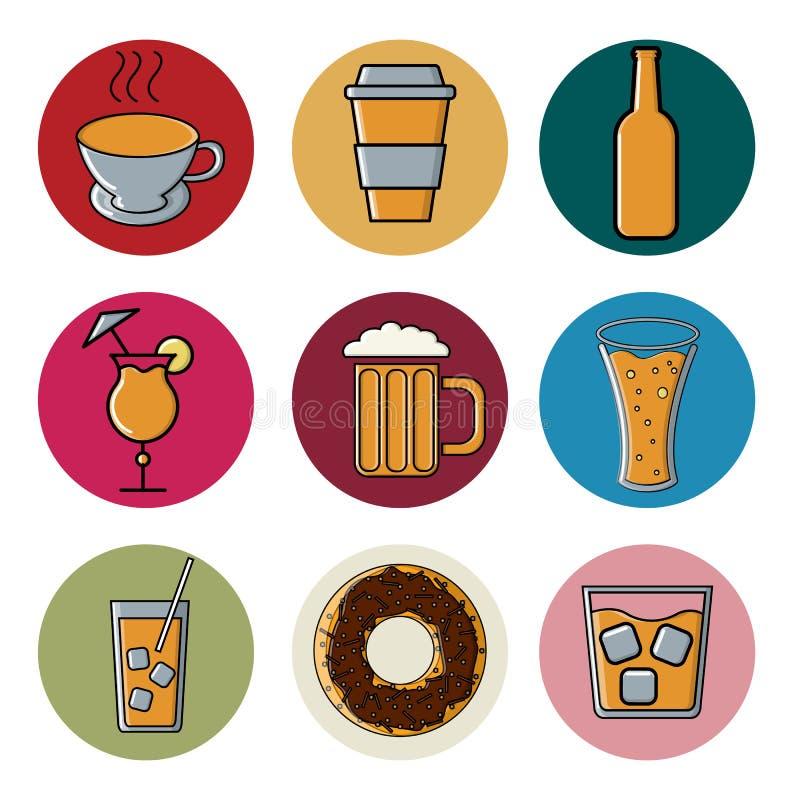 Set stubarwne round ikony dla cukiernianego baru restauracja Rzeczy koktajle i napojów szkła alkoholiczni i bezalkoholowi ilustracji