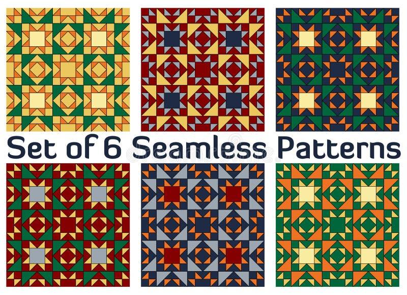 Set 6 stubarwnych modnych geometrycznych bezszwowych wzorów z trójboka i kwadrata kształtami ilustracja wektor