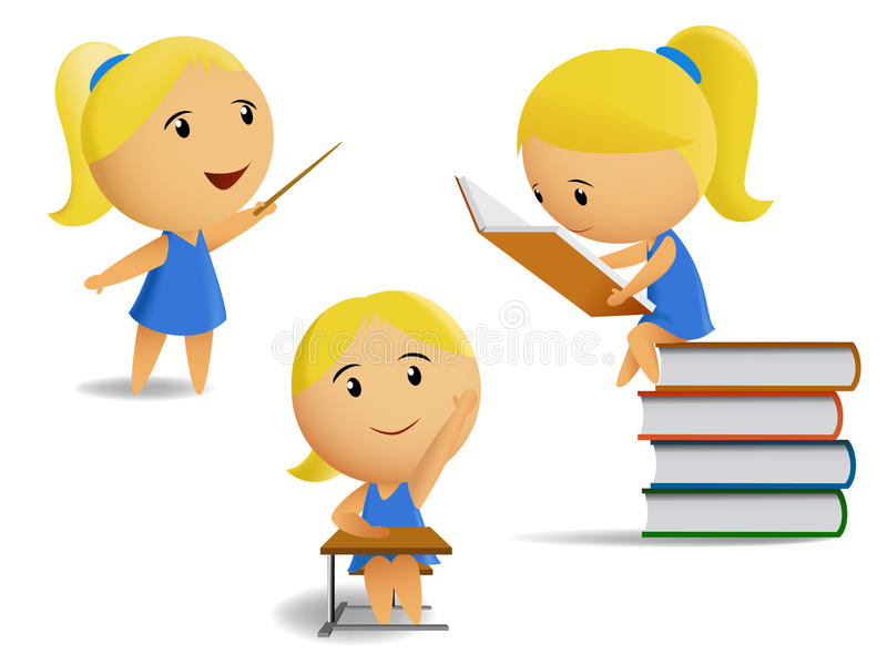 Set of student school girls. Vector illustration of a set of pictures of students school girls. It reads, answers, says. Meshes used royalty free illustration