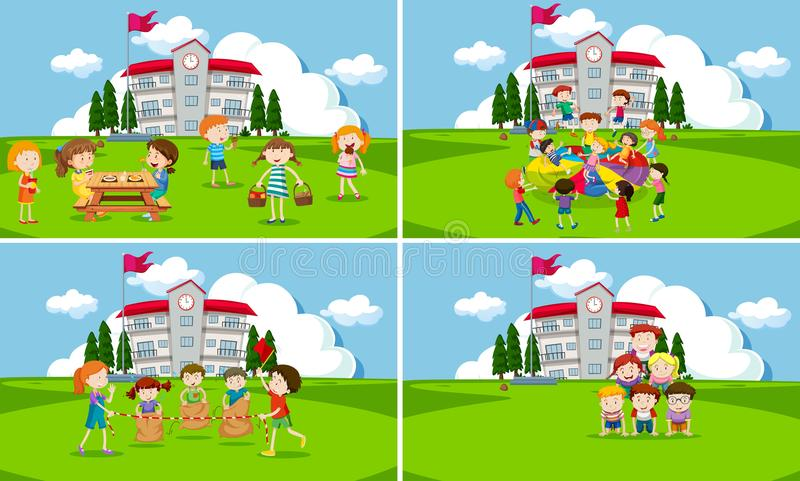 A set of students at school stock illustration