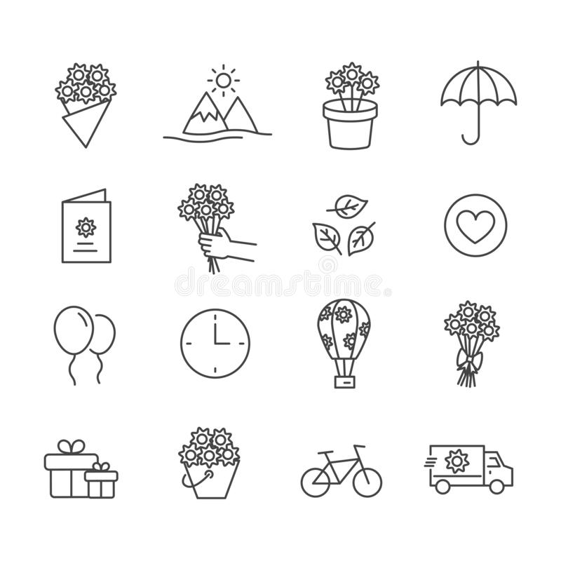 Set of stuff for Valentines Day with bouquet and gift. Modern outline icon royalty free illustration