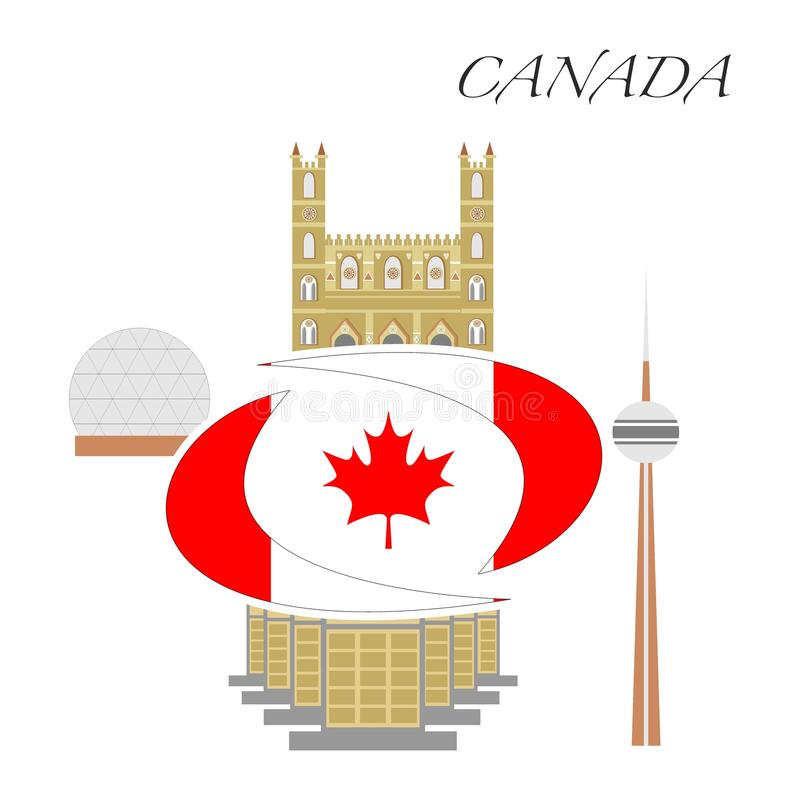 The CANADA set. Set in the style of a flat design on the theme of canada vector illustration