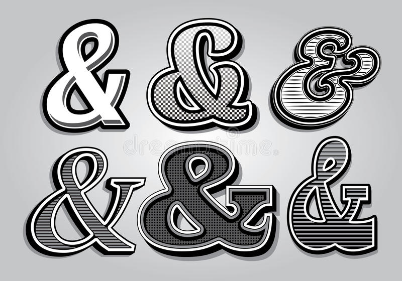 Set of stylish ampersands from different fonts. Vector set of stylish ampersands from different fonts vector illustration