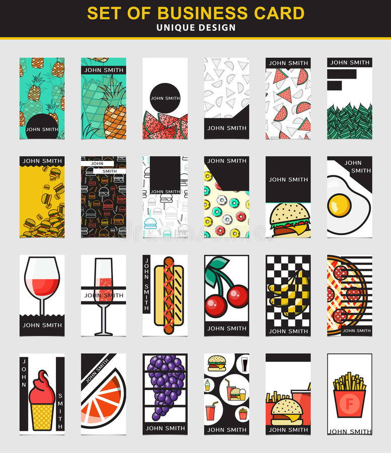 Set Of 24 Stylish Business Card Design For Food Industry Stock ...