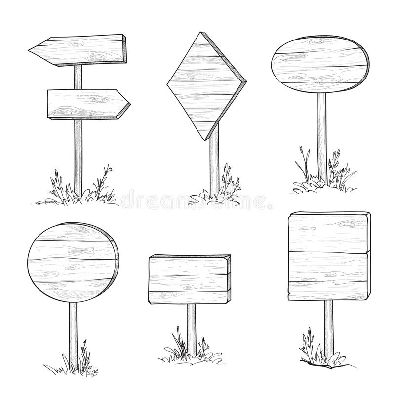 Wooden road sign and arrow. Retro engraving plank set. Pointer a. Set of stylish doodle wooden road sign and arrow. Retro engraving of planks. Hand drawn pointer vector illustration