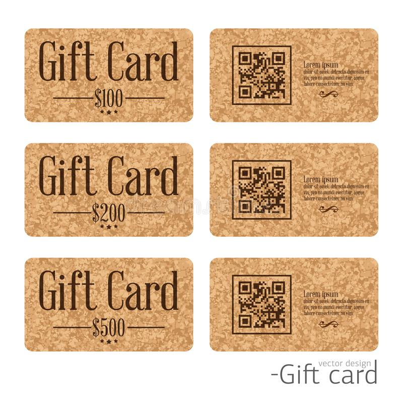 Set of stylish gift card templates on cork texture background. Vector design stock illustration