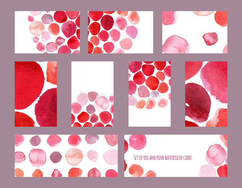 Set of stylish hand-drawn raster business cards and banners, based on red and pink brush smears and dyes. Horizontal and vertical. Set of stylish hand-drawn royalty free illustration