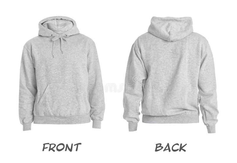 Set of stylish hoodie sweater on white background, front and back view stock photography