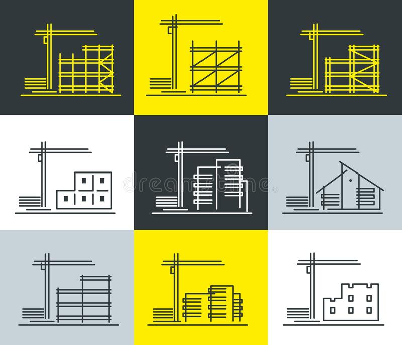 A set of stylish icons on the topic of various construction stock illustration