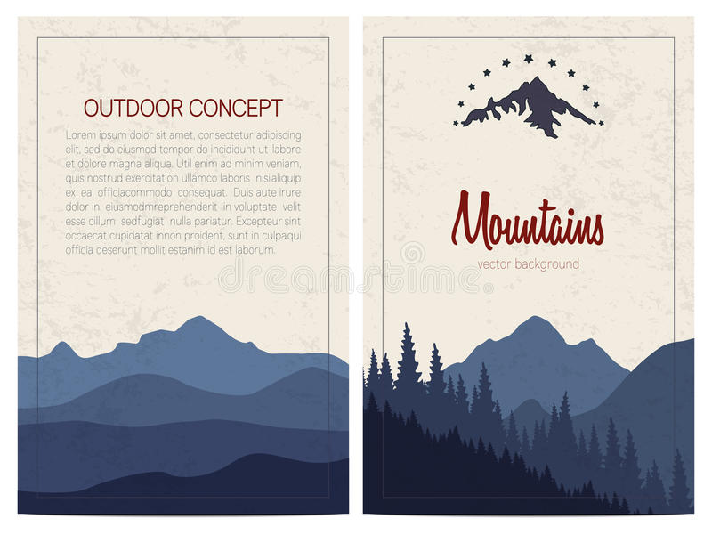 Set of stylish outdoor cards with mountains. Vector backgrounds. vector illustration