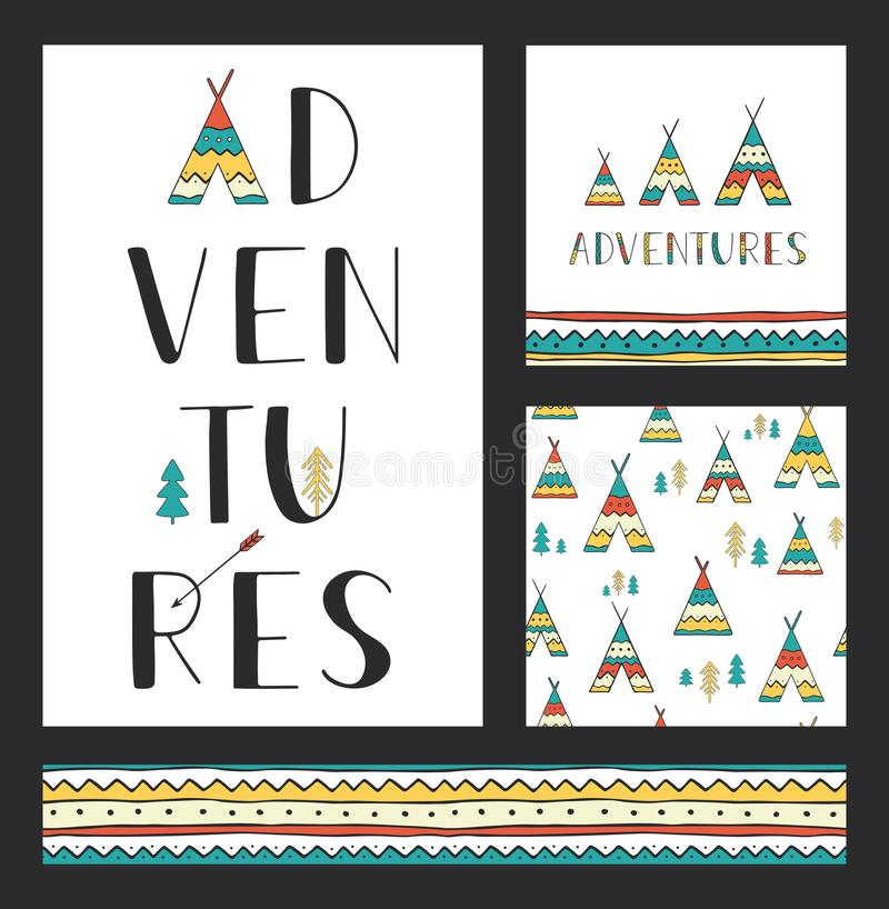 Set of stylish outdoor cards template. Adventures. Vertical hand drawn lettering with seamless backgrounds and ethnic design eleme vector illustration