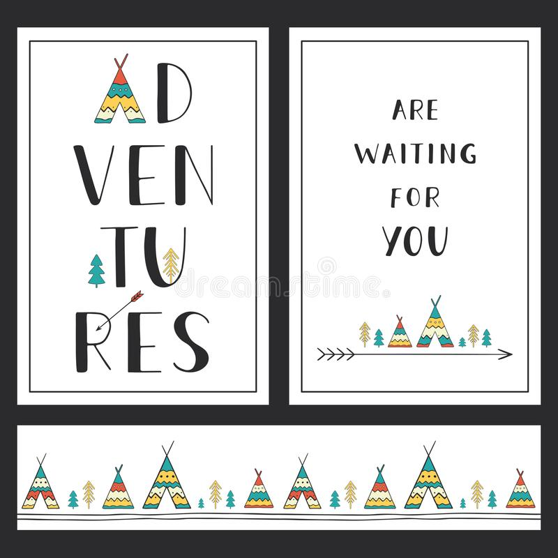 Set of stylish outdoor cards template. Adventures are waiting for you. royalty free illustration