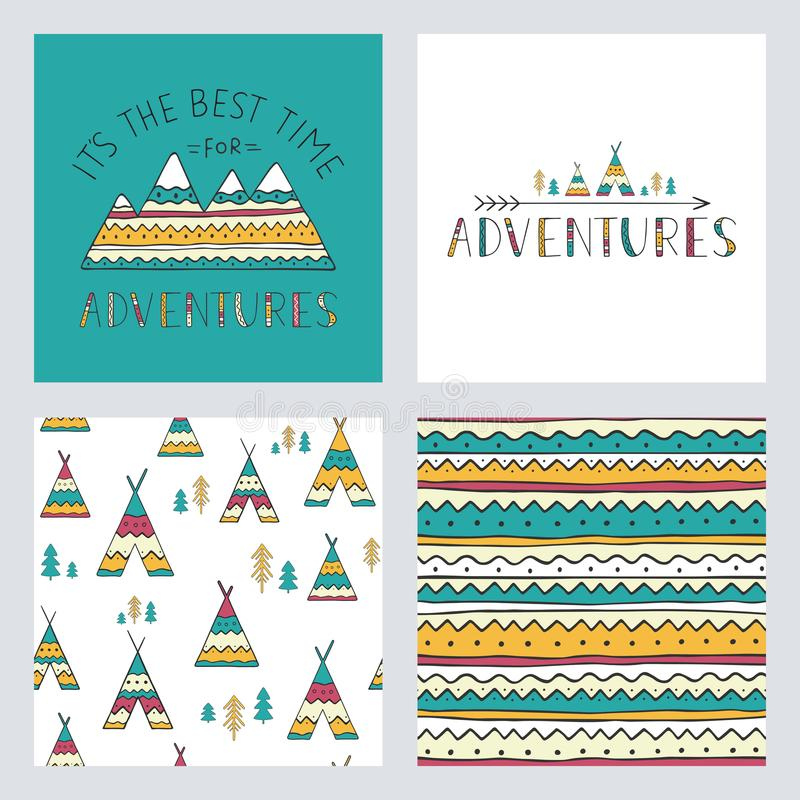 Set of stylish outdoor cards template. It is the best time for adventure. stock illustration