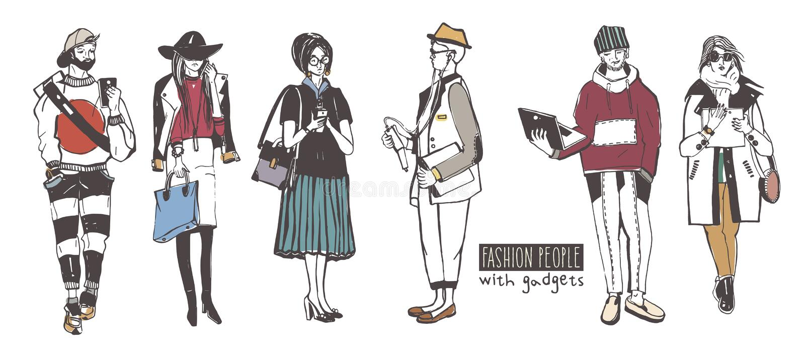 Set of stylish people with gadgets at street, sketch fashion collection. Vector illustration stock illustration