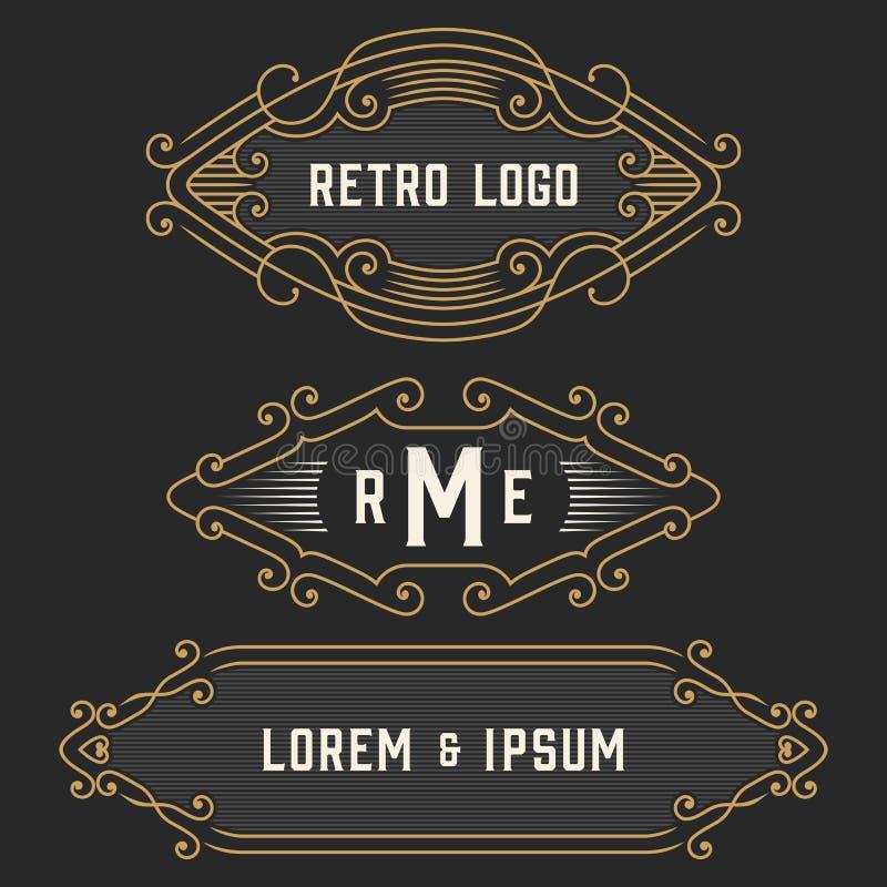 The set of stylish retro logo and emblem templates. Stock . The set of elegant retro monogram emblem and logo templates. Elegant vintage frames ornament logo royalty free illustration